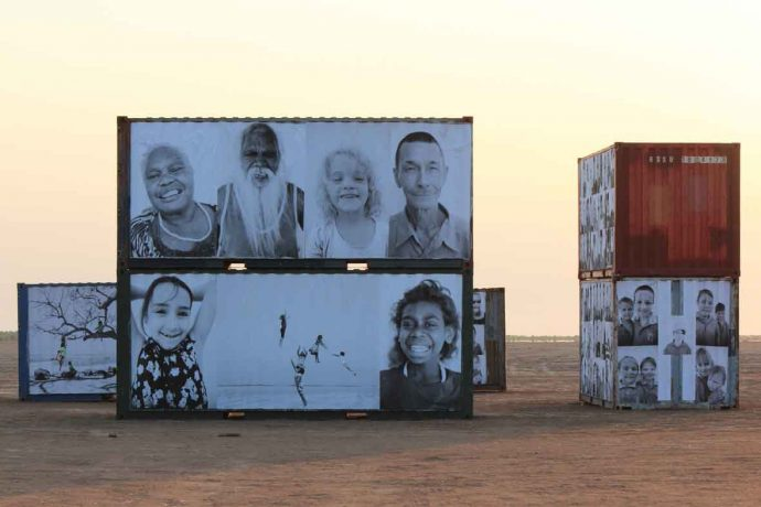 DADAA | contact | portraits projected onto shipping containers outdoors in the Kimberley