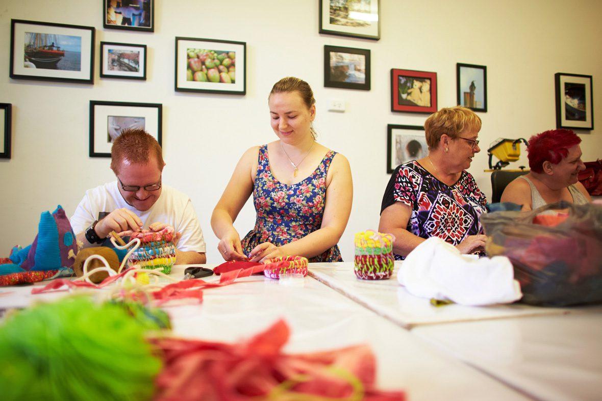 DADAA | Community Studio | people making textile sculptures