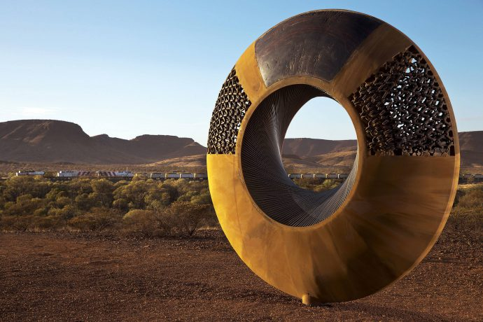 DADAA | regional programs | large doughnut-shaped sculpture made from iron ore in the Pilbara, Western Australia.