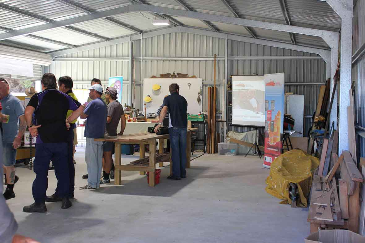 DADAA | Community Shed | group of men standing in Lancelin Wangaree Community Centre shed
