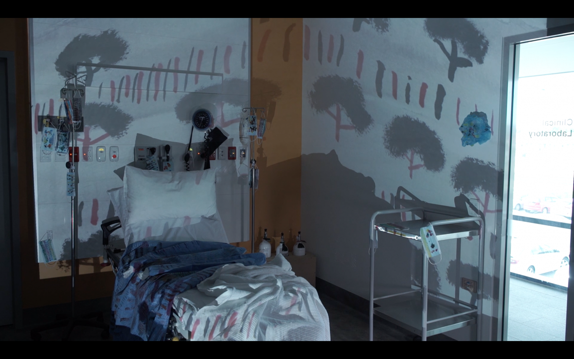 DADAA | Mixed Reality project, Patrick Carter's work Bloom, projection in hospital room