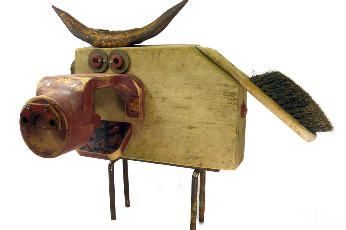 Sculpture of pig using found objects