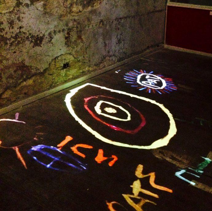 DADAA | digital dialogues | digital projections on dark concrete floor