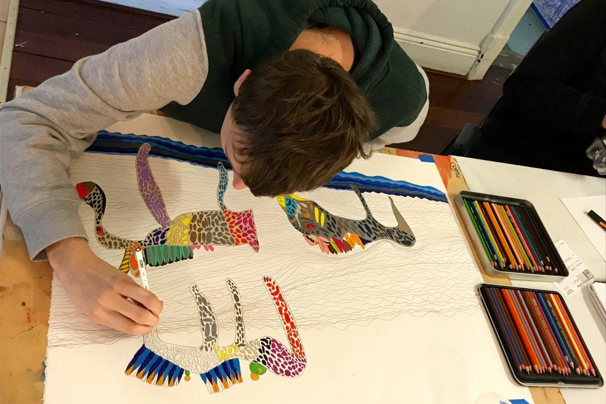 DADAA | Nexus Arts Grant | young man drawing