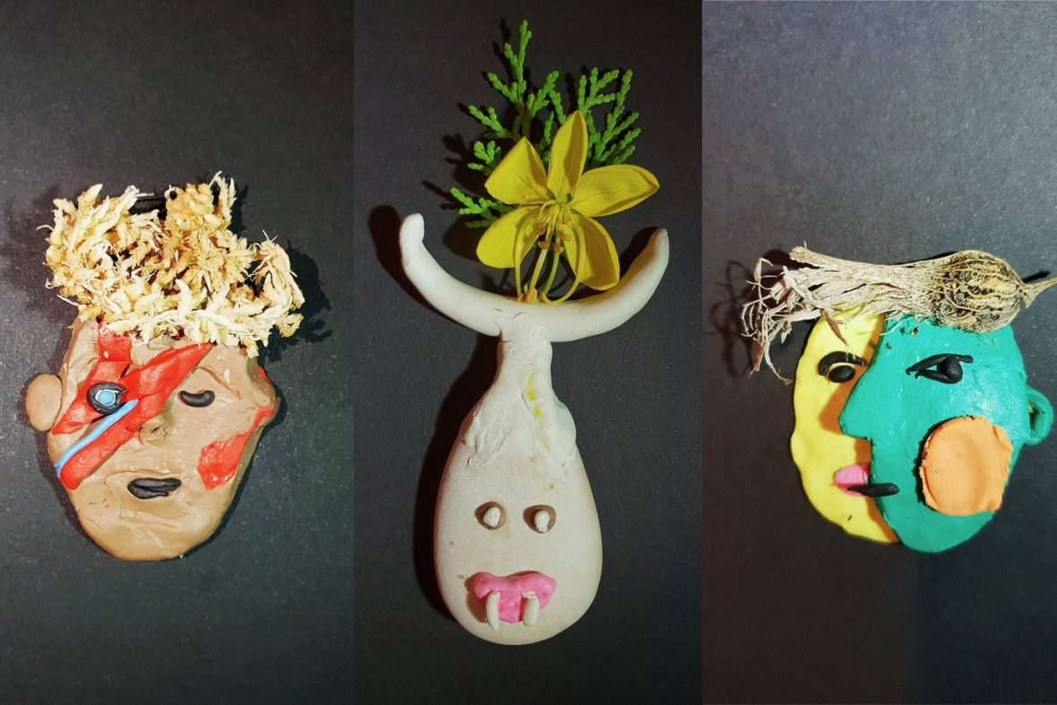 DADAA   youth arts   Three clay sculptures on black background