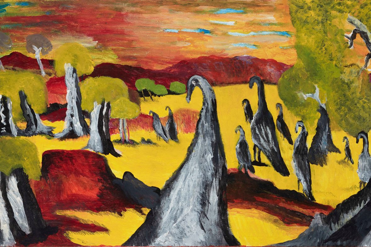 Emus painted by Aboriginal Artist Des Woodley
