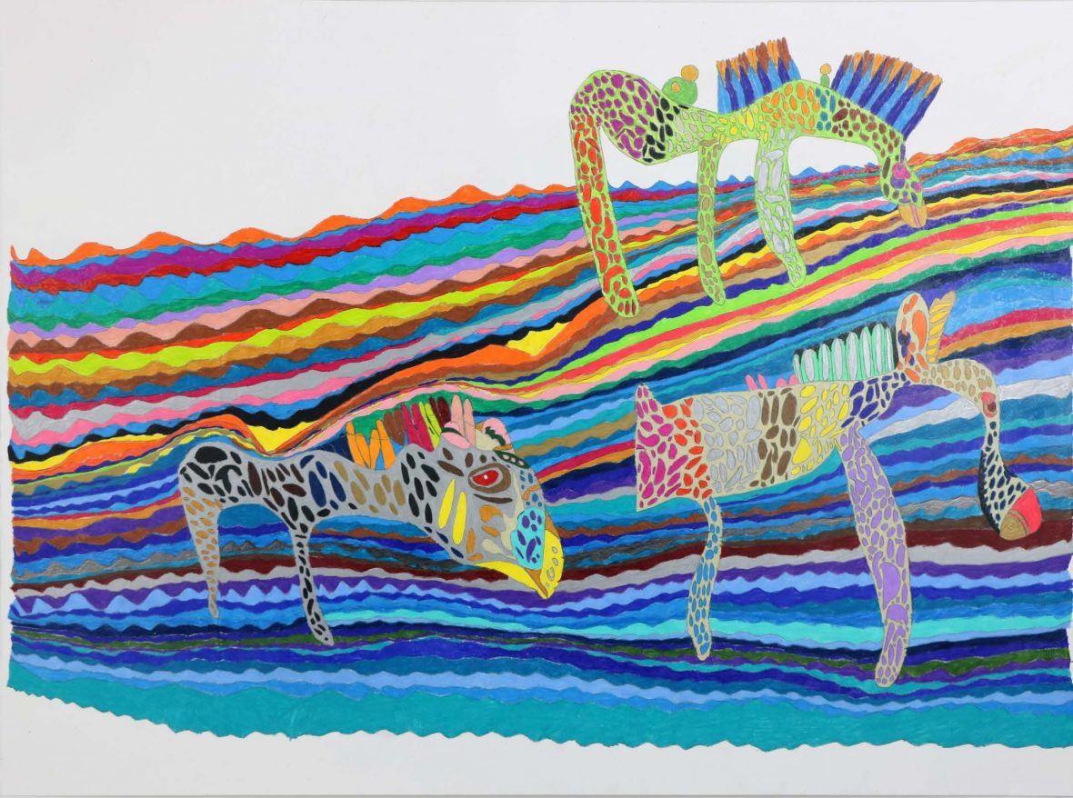 DADAA | brightly coloured coloured pencil drawing of 3 animals by Declan White