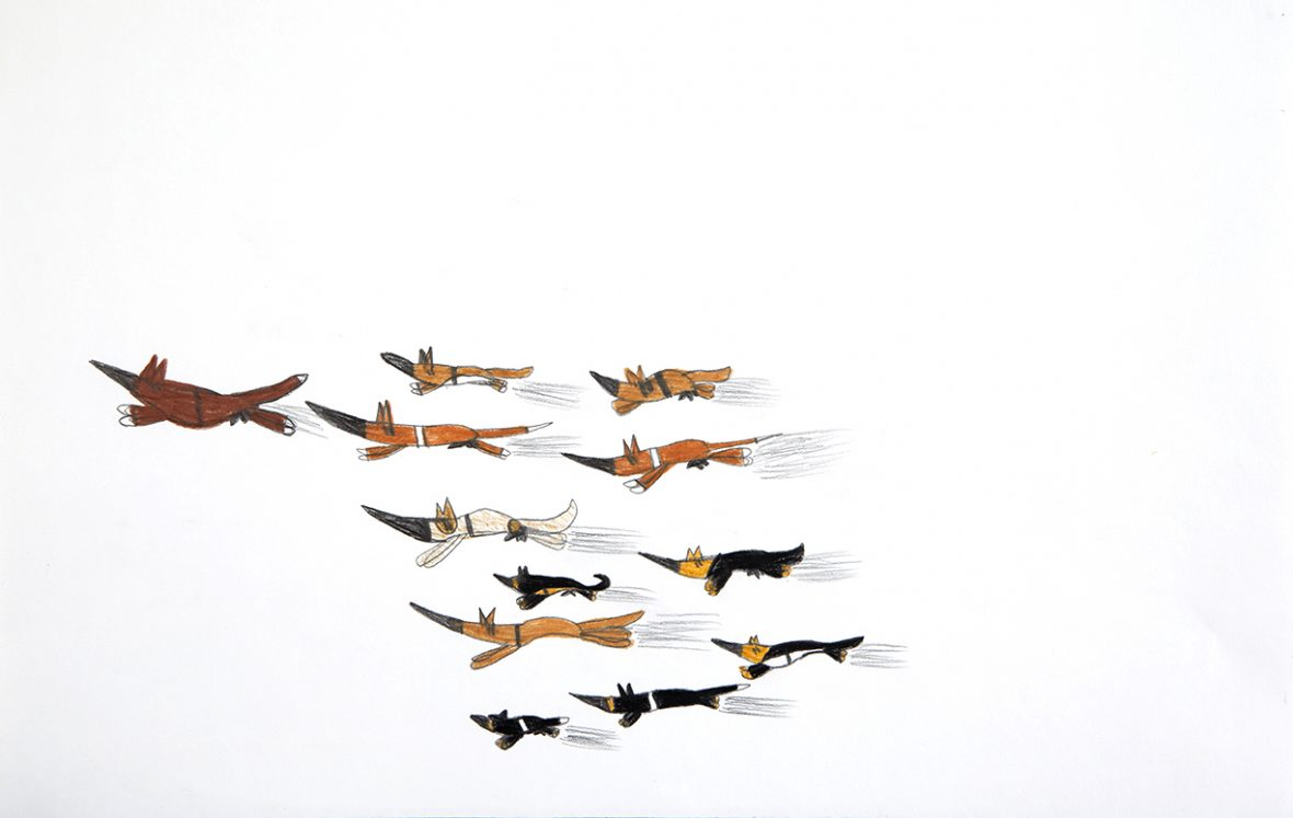 Drawing by Dion Beasley of 11 dogs running, led by a larger brown dog