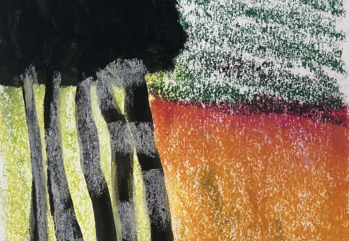Abstract landscape of green, orange and black pastel crayon and charcoal