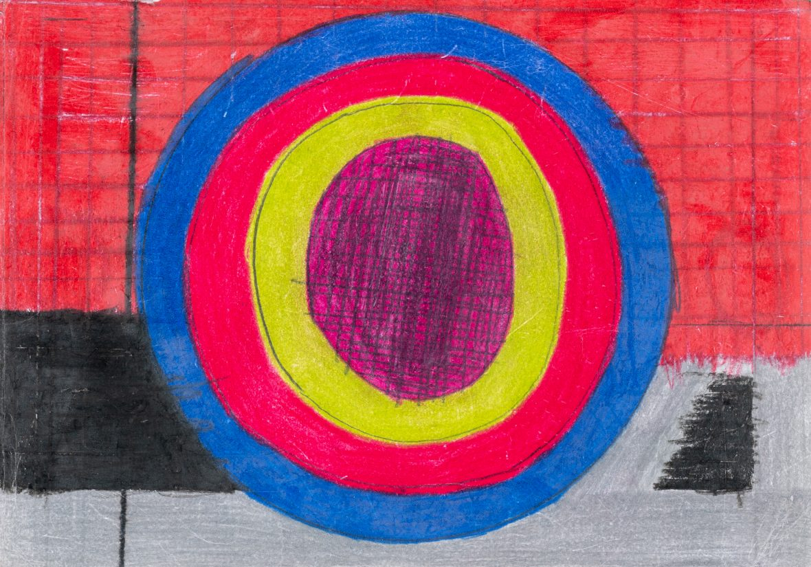 Artwork on A4 paper showing bullseye motif in bright pencil colours. This pattern at the grid in background are characteristic of the artist.