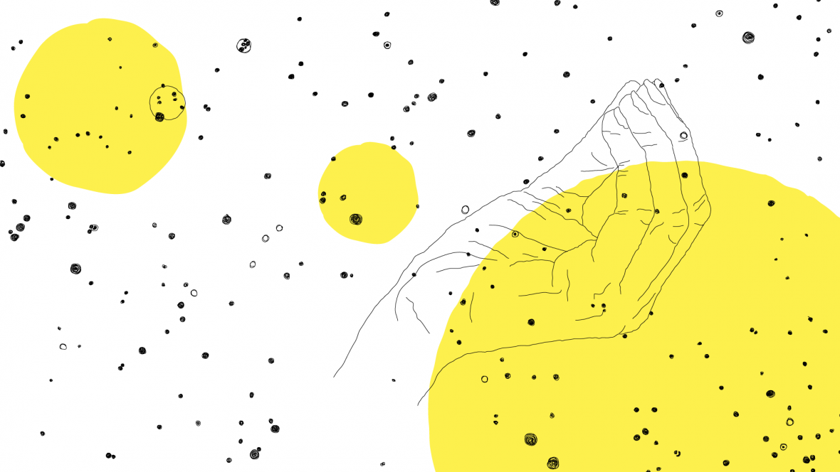 black and white line drawing of an upward facing hand with pinched fingers. It is floating amongst stars and two yellow circles.