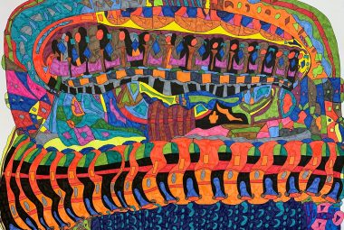 a vibrant, whirling abstract drawing of a bowling alley by artist Declan White