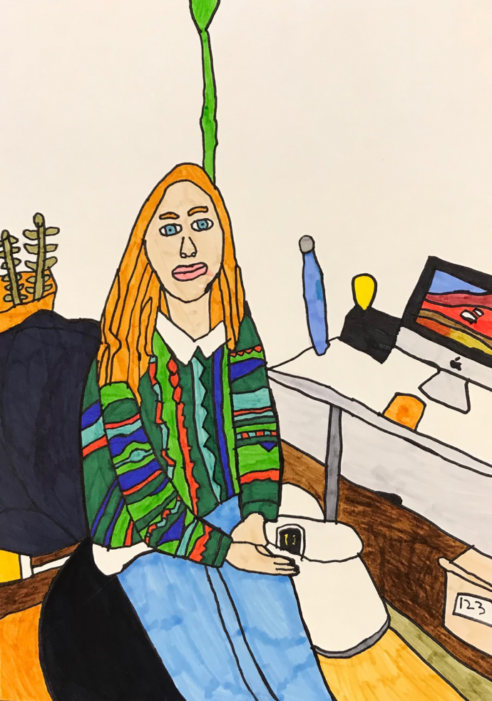 Drawing of Katherine Wilkinson, in coloured textas with long blond hair and stripey green jumper, sitting on a chair next to a desk looking relaxed.